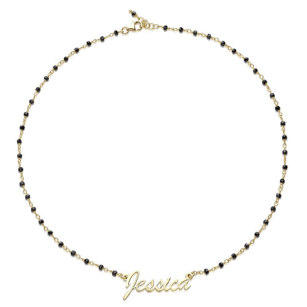 JESSICA MICHEL PERSONALIZED STERLING SILVER BLACK CZ ROSARY CHAIN NAMEPLATE NECKLACE