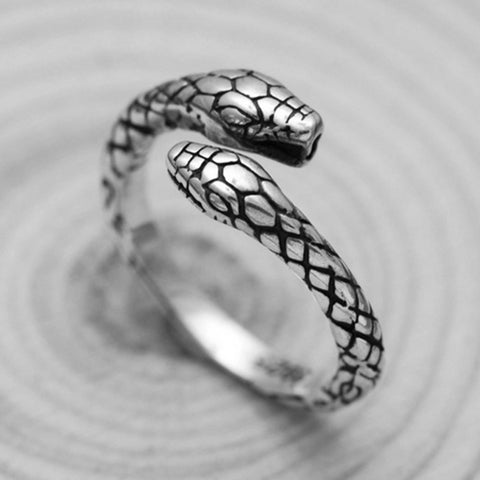Stainless Steel Offset Snake Ring in White Color , Snake band ring , man ring , Men's Fashion Jewelry ring