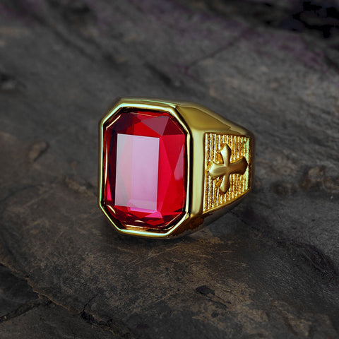 Jewelry-Fashion-Stainless-Steel-Square Red Stone Cross Signet-Rings-with-Red Stone -for-Men,Pinky-Ring-for-Men--Mens-fashion-Jewelry--Gift-for-Him--Mens-Ring