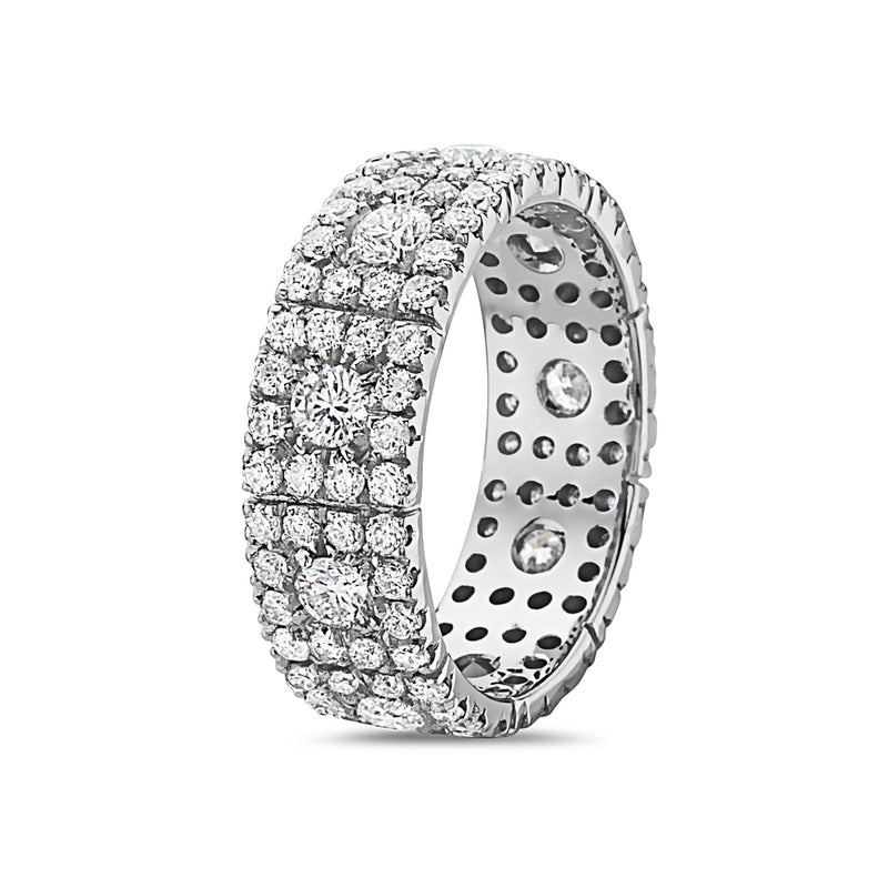 LARGE ROUND DIAMONDS SQUARE SHAPE HALO WEDDING BAND RING, WOMEN RING, SEVEN50 WOMAN, SEVEN50 GROUP USA - SEVEN-50.COM