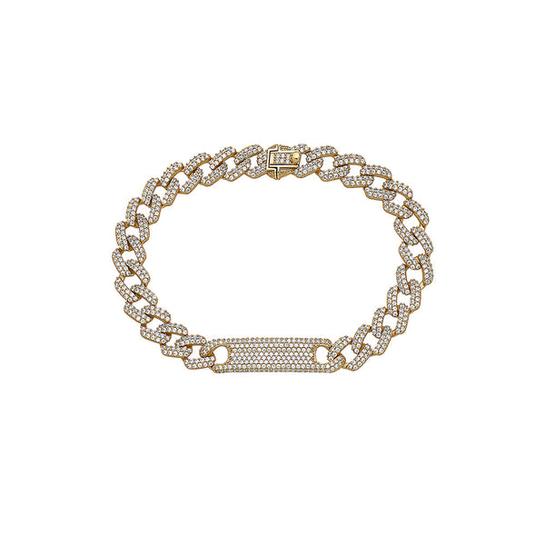 CUBAN LINK PAVE ( 8 MM ) DIAMONDS PLATE BAR ESSENTIAL ID STERLING SILVER BRACELET