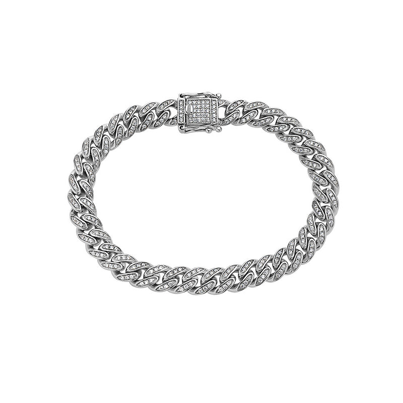 CUBAN LINK PAVE ( 8 MM ) DIAMONDS STERLING SILVER BRACELET