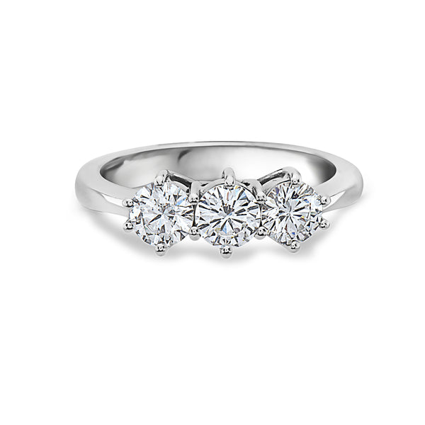 MADE IN ITALY 18K CLASSIC TRILOGY TRIO DIAMOND RING