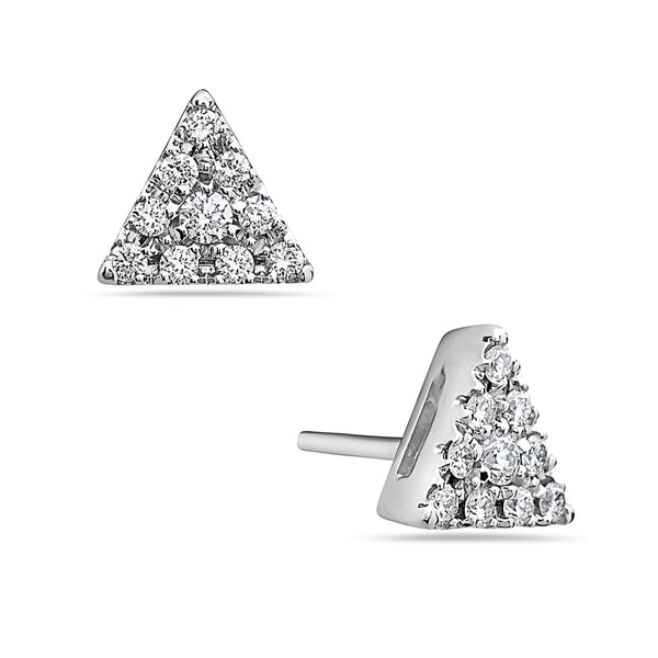 MADE IN ITALY 18K CLUSTER ILLUSION TRIANGLE STUD EARRING