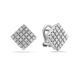 MADE IN ITALY 18K DIAMOND SQUARE STUD EARRING