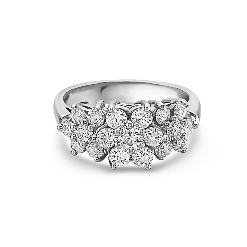 MADE IN ITALY 18K FLOWER TRILOGY TRIO DIAMOND RING, WOMEN RING, SEVEN50 WOMAN, SEVEN50 GROUP USA - SEVEN-50.COM