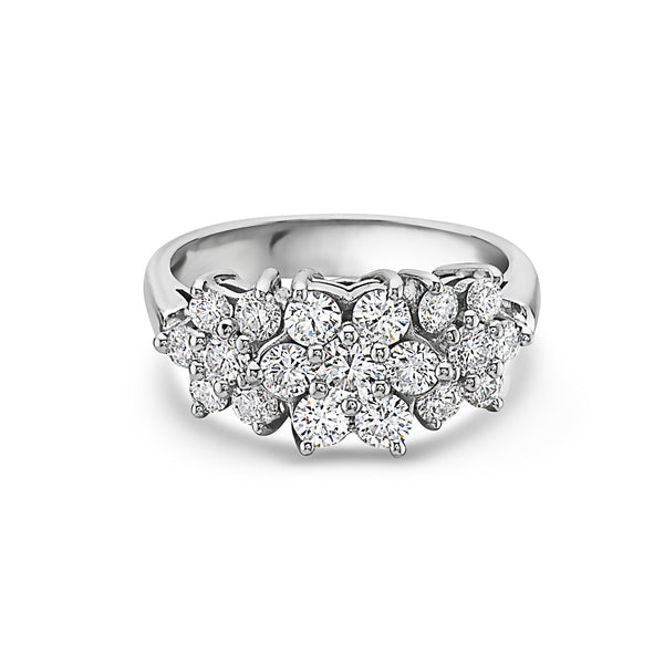 MADE IN ITALY 18K FLOWER TRILOGY TRIO DIAMOND RING