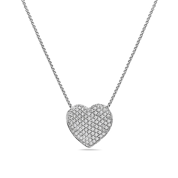 MADE IN ITALY 18K HEART SHAPE PAVE DIAMOND NECKLACE