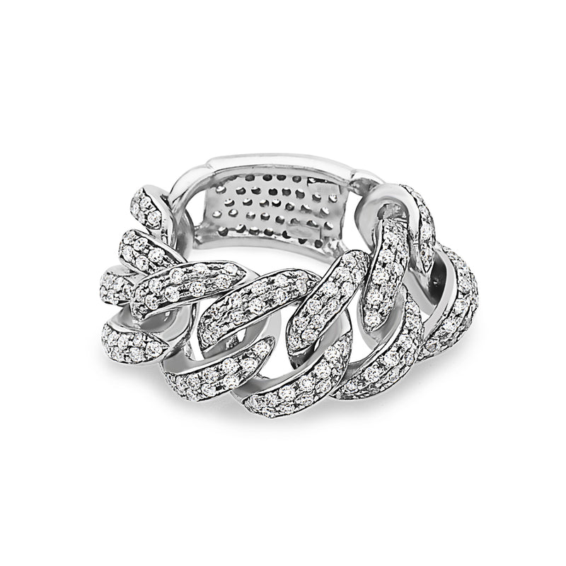 MADE IN ITALY 18K LINK DIAMONDS RING, WOMEN RING, SEVEN50 WOMAN, SEVEN50 GROUP USA - SEVEN-50.COM
