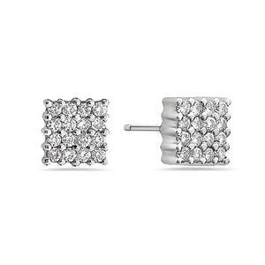 MADE IN ITALY 18K MINI DIAMOND SQUARE STUD EARRING BY SEVEN50