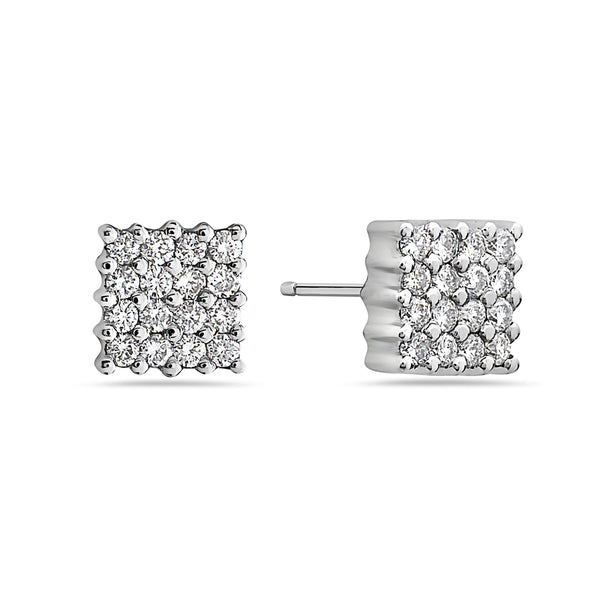 MADE IN ITALY 18K MINI DIAMOND SQUARE STUD EARRING