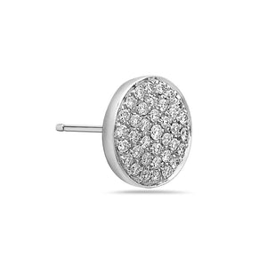 MADE IN ITALY 18K PAVE DIAMOND DISC STUD EARRING BY SEVEN50