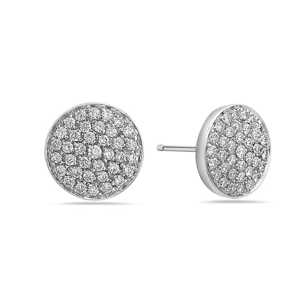 MADE IN ITALY 18K PAVE DIAMOND DISC STUD EARRING