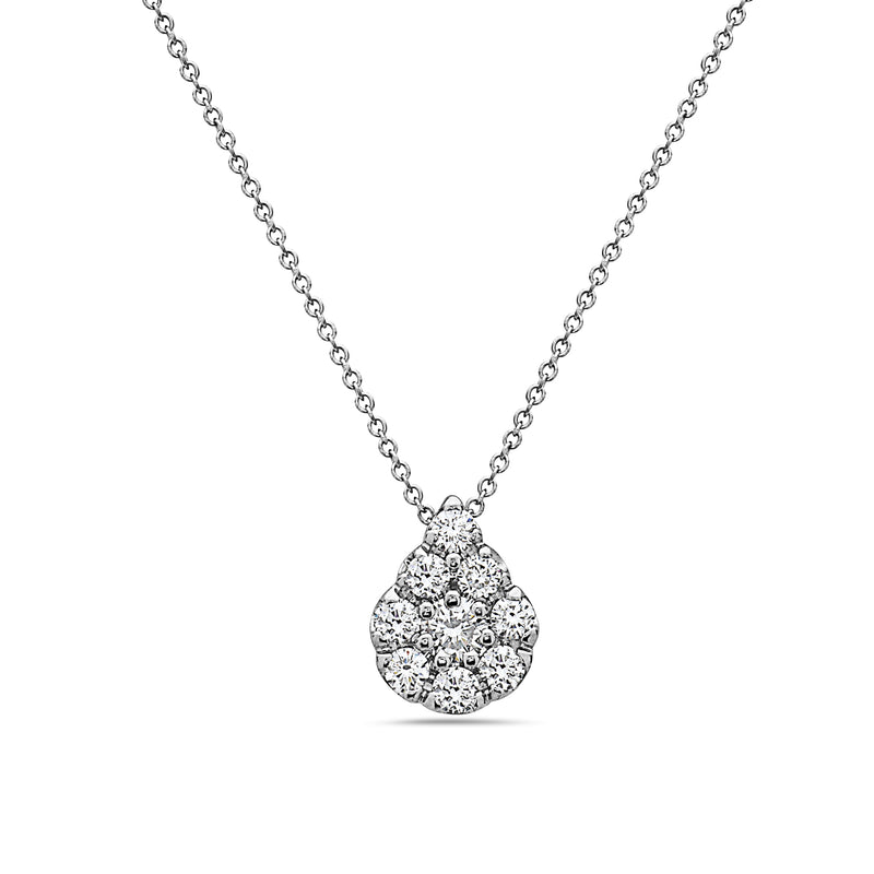 MADE IN ITALY 18K PEAR SHAPE DIAMOND  CLUSTER ILLUSION NECKLACE, Necklace, SEVEN50 WOMAN, SEVEN50 GROUP USA - SEVEN-50.COM