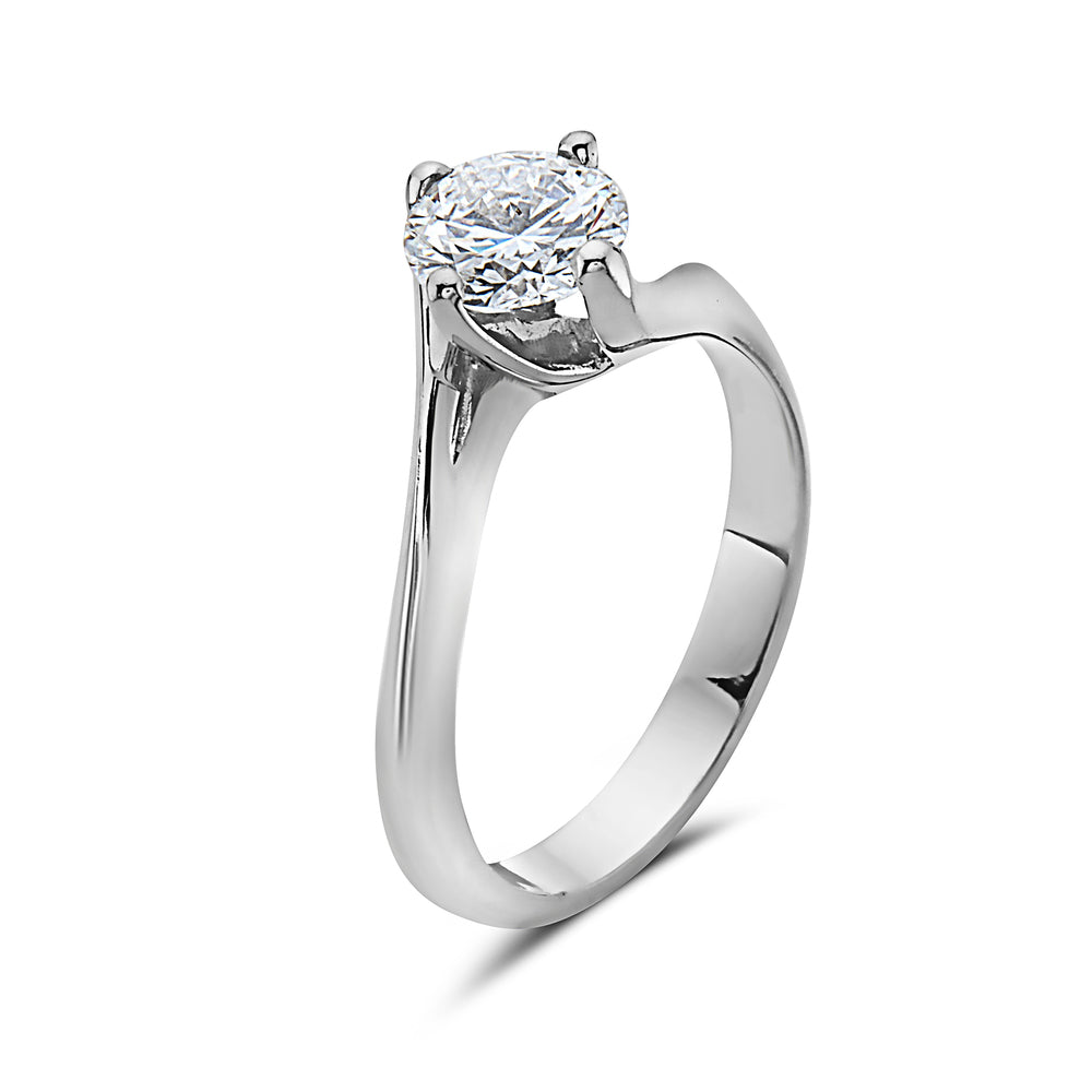 MADE IN ITALY 18K SOLITAIRE BRIDAL TWISTED ENGAGEMENT RING, WOMEN RING, SEVEN50 WOMAN, SEVEN50 GROUP USA - SEVEN-50.COM