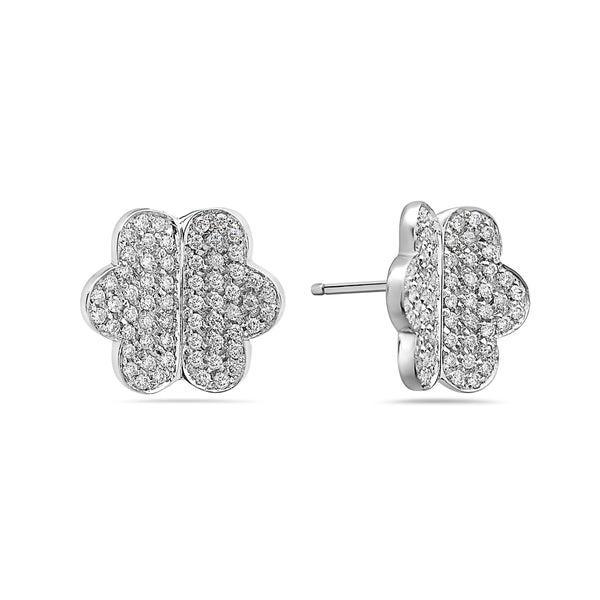 MADE IN ITALY 18K WHITE DIAMOND BUTTERFLY STUD EARRING