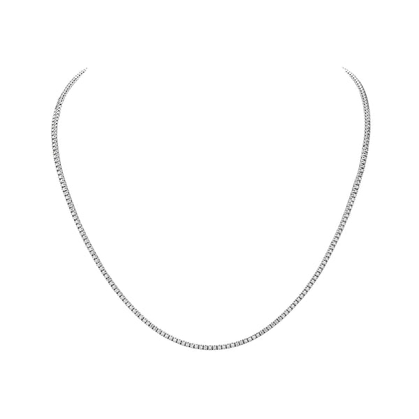 MADE IN ITALY 18K WHITE DIAMOND TENNIS NECKLACE