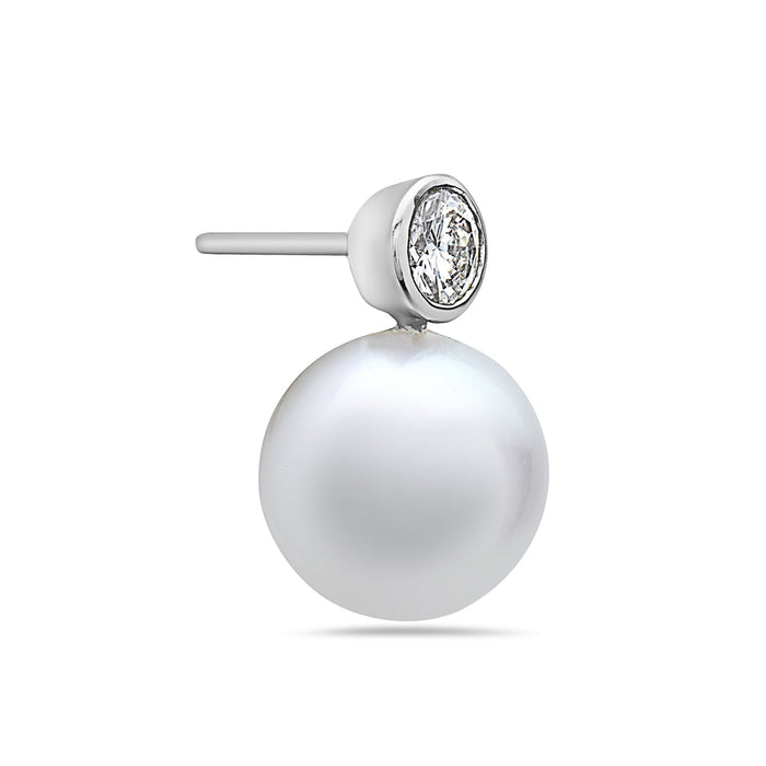 MADE IN ITALY 18K WHITE GOLD 22MM FRESHWATER ROUND PEARL DROP EARRINGS WITH SOLITAIRE DIAMONDS