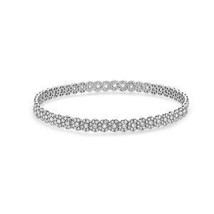MADE IN ITALY 18K WHITE GOLD CLUSTER ILLUSION ROUND DIAMONDS BANGLE BRACELET