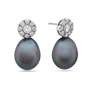 MADE IN ITALY 18K WHITE GOLD  FRESHWATER BLACK OVAL PEARL DROP EARRINGS WITH CLUSTER ILLUSION ROUND DIAMONDS EARRINGS