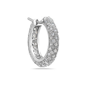 MADE IN ITALY 18K WHITE GOLD PAVE DIAMONDS HOOPS EARRINGS