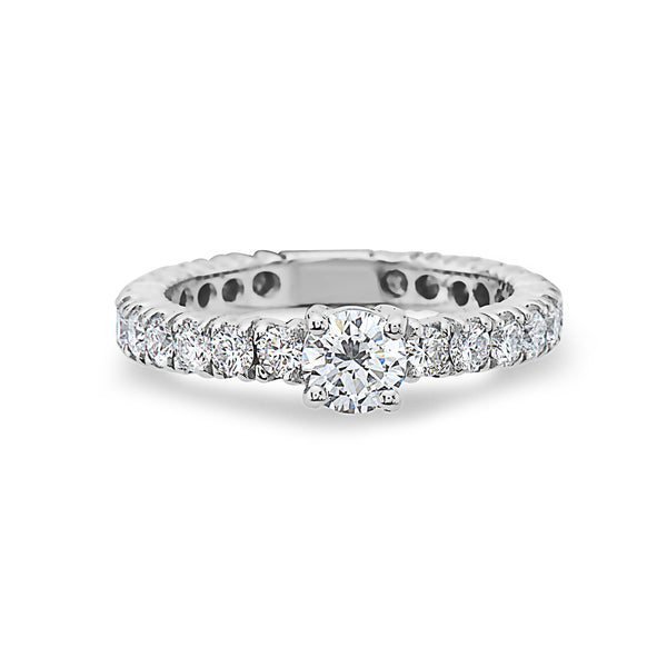 MADE IN ITALY 18K WHITE GOLD SOLITAIRE BAND RING