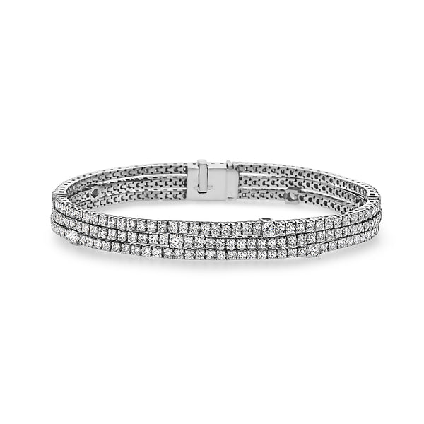 MADE IN ITALY 18K WHITE GOLD THREE ROWS TENNIS BRACELET