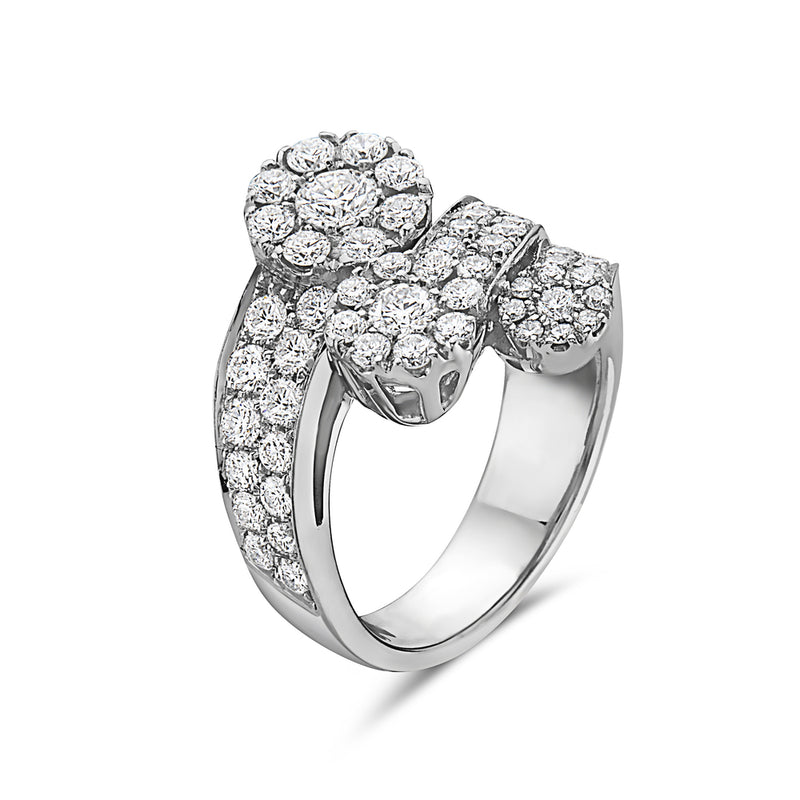 MADE IN ITALY 3 STONES CONTRARIE CLUSTER ILLUSION ROUND DIAMONDS RING, WOMEN RING, SEVEN50 WOMAN, SEVEN50 GROUP USA - SEVEN-50.COM