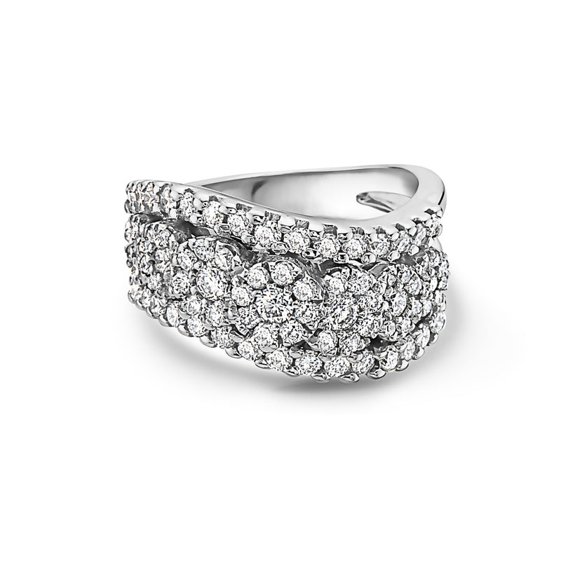 MADE IN ITALY 7 RIVIERE ROSES CLUSTER ILLUSION ROUND DIAMONDS RING, WOMEN RING, SEVEN50 WOMAN, SEVEN50 GROUP USA - SEVEN-50.COM