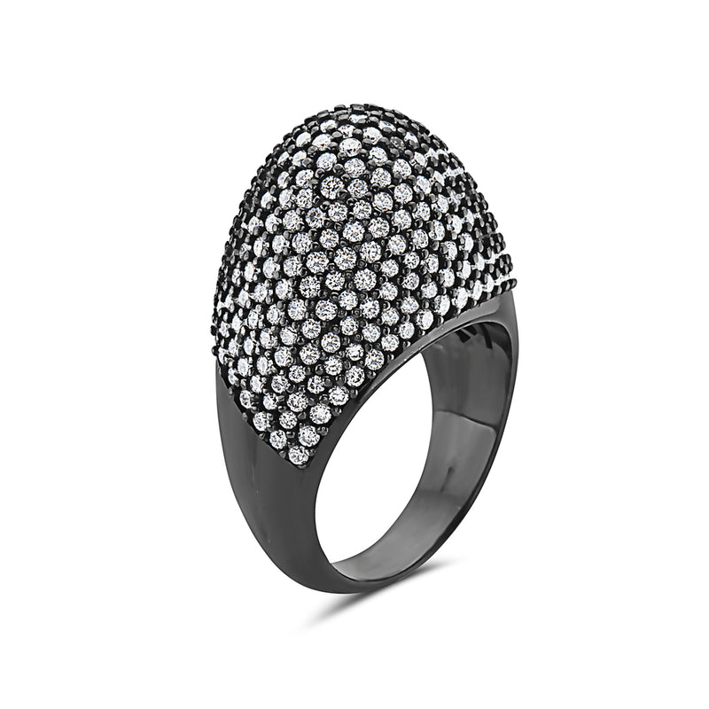 MADE IN ITALY BLACK RHODIUM 18K PAVE DIAMONDS SETTING RING, WOMEN RING, SEVEN50 WOMAN, SEVEN50 GROUP USA - SEVEN-50.COM