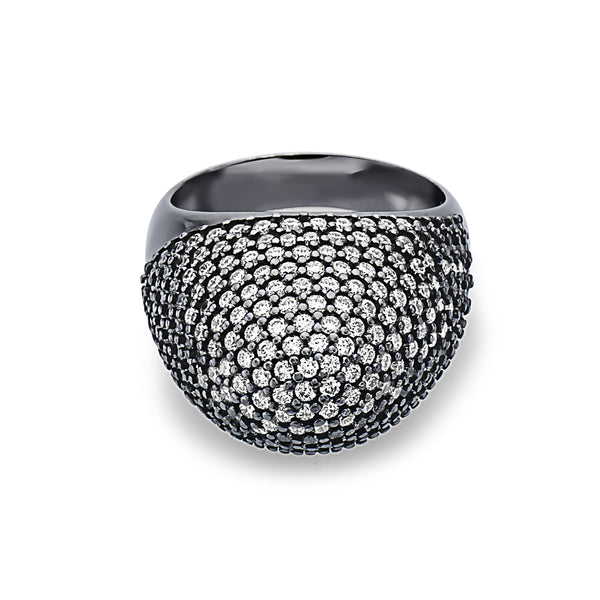 MADE IN ITALY BLACK RHODIUM 18K PAVE DIAMONDS SETTING RING