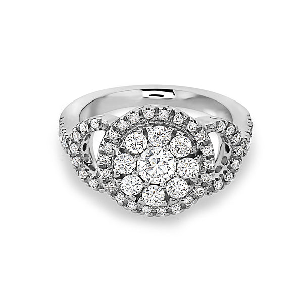 MADE IN ITALY CLUSTER ILLUSION HALO ENGAGEMENT RING