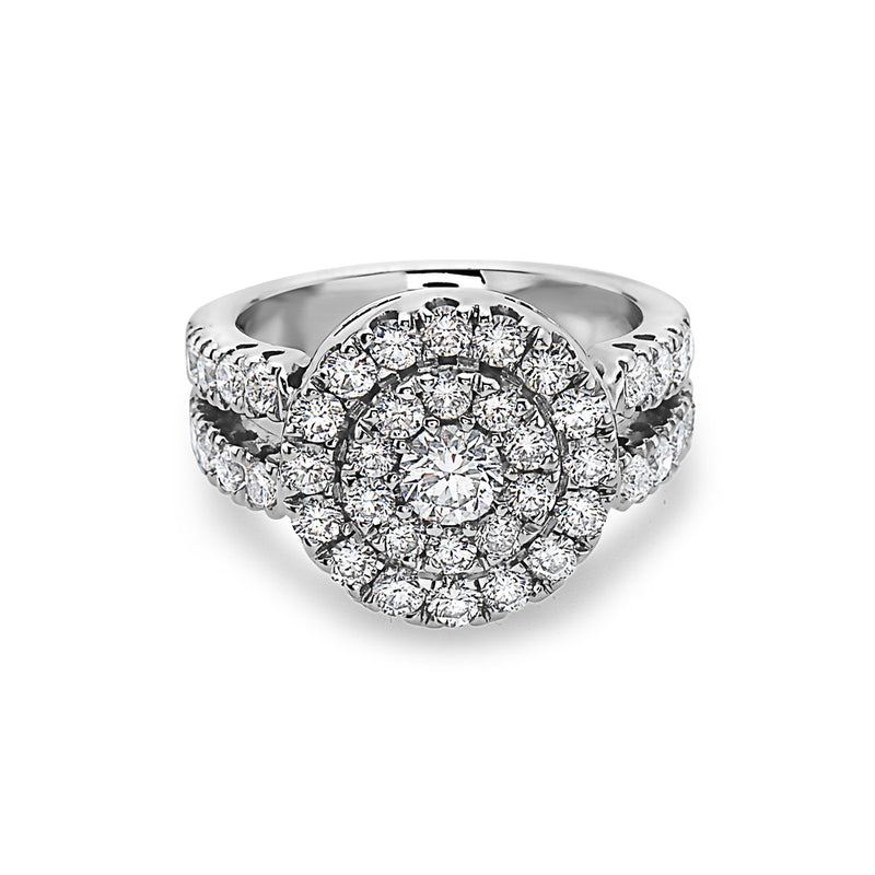 MADE IN ITALY CLUSTER ILLUSSION HALO MASSIVE ENGAGEMENT RING, WOMEN RING, SEVEN50 WOMAN, SEVEN50 GROUP USA - SEVEN-50.COM