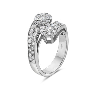 MADE IN ITALY CONTRARIE CLUSTER ILLUSION ROUND DIAMONDS RING, WOMEN RING, SEVEN50 WOMAN, SEVEN50 GROUP USA - SEVEN-50.COM