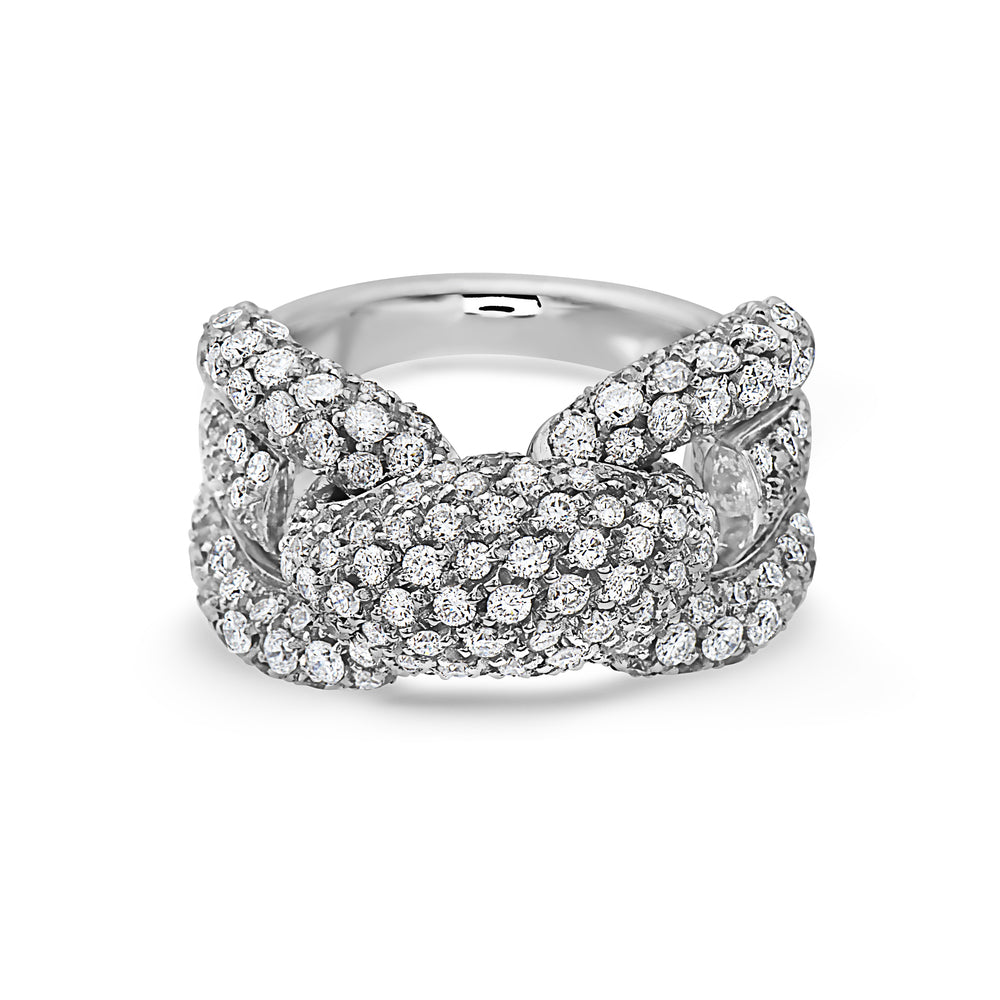 MADE IN ITALY FASHION SINGLE NODO LINK PAVE DIAMONDS RING, WOMEN RING, SEVEN50 WOMAN, SEVEN50 GROUP USA - SEVEN-50.COM