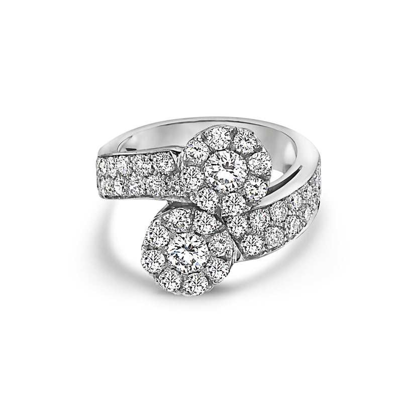 MADE IN ITALY LARGE CONTRARIE CLUSTER ILLUSION ROUND DIAMONDS RING, WOMEN RING, SEVEN50 WOMAN, SEVEN50 GROUP USA - SEVEN-50.COM