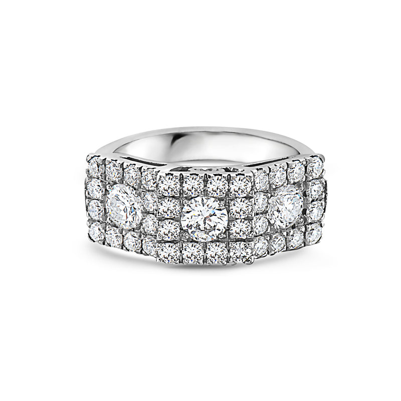 MADE IN ITALY LARGE SQUARE CLUSTER ILLUSION ROUND DIAMONDS WEDDING BAND RING, WOMEN RING, SEVEN50 WOMAN, SEVEN50 GROUP USA - SEVEN-50.COM
