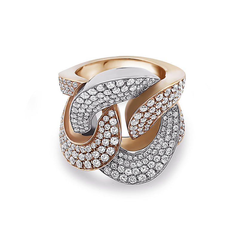 MADE IN ITALY NODO FANCY HALF WHITE HALF YELLOW LINK PAVE DIAMONDS RING, WOMEN RING, SEVEN50 WOMAN, SEVEN50 GROUP USA - SEVEN-50.COM