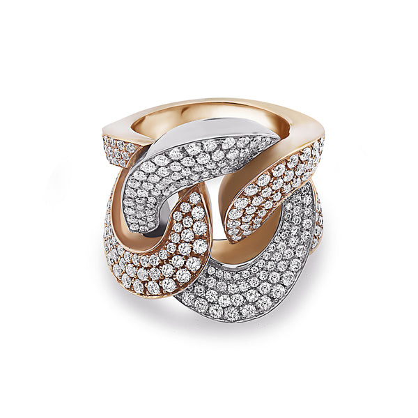 MADE IN ITALY NODO FANCY HALF WHITE HALF YELLOW LINK PAVE DIAMONDS RING