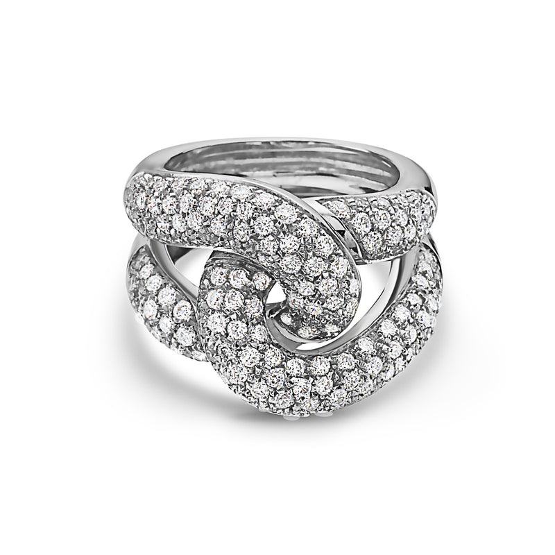 MADE IN ITALY NODO LINK  PAVE DIAMONDS RING, WOMEN RING, SEVEN50 WOMAN, SEVEN50 GROUP USA - SEVEN-50.COM