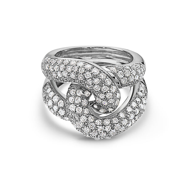MADE IN ITALY NODO LINK  PAVE DIAMONDS RING