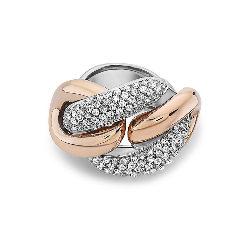 MADE IN ITALY NODO MASSIVE LINK PAVE DIAMONDS RING, WOMEN RING, SEVEN50 WOMAN, SEVEN50 GROUP USA - SEVEN-50.COM