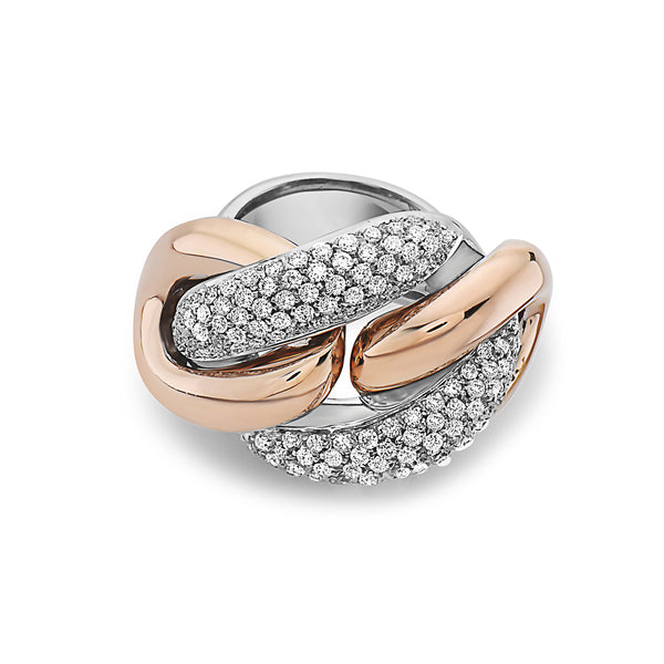 MADE IN ITALY NODO MASSIVE LINK PAVE DIAMONDS RING