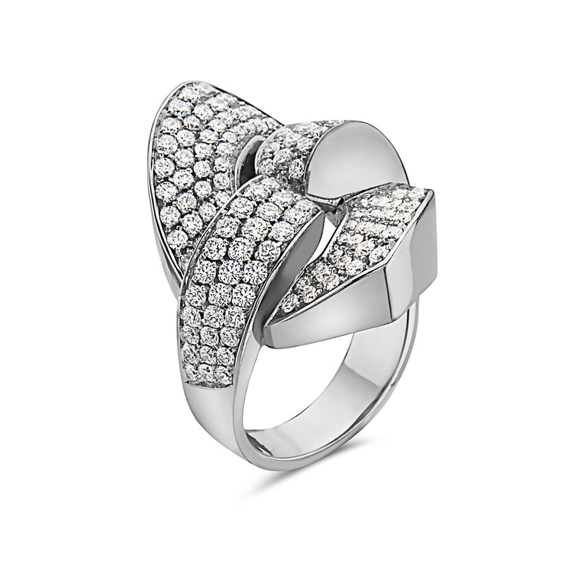 MADE IN ITALY NODO SHARP LINK PAVE DIAMONDS RING, WOMEN RING, SEVEN50 WOMAN, SEVEN50 GROUP USA - SEVEN-50.COM