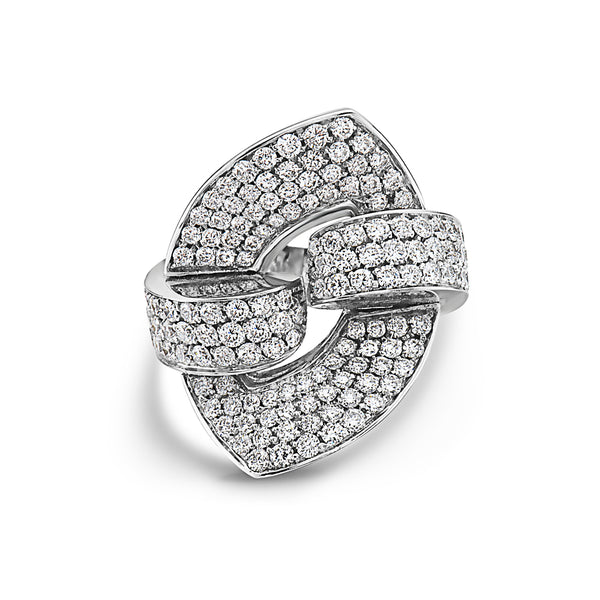 MADE IN ITALY NODO SHARP LINK PAVE DIAMONDS RING