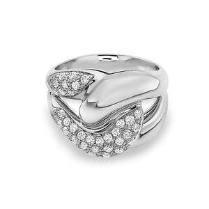 MADE IN ITALY NODO SINGLE LINK HALF PAVE DIAMONDS RING, WOMEN RING, SEVEN50 WOMAN, SEVEN50 GROUP USA - SEVEN-50.COM