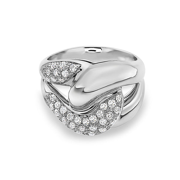 MADE IN ITALY NODO SINGLE LINK HALF PAVE DIAMONDS RING