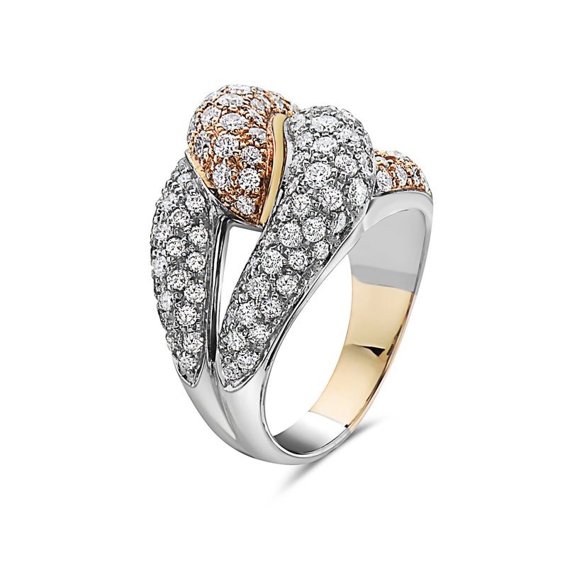 MADE IN ITALY NODO SINGLE LINK HALF YELLOW HALF WHITE PAVE DIAMONDS RING, WOMEN RING, SEVEN50 WOMAN, SEVEN50 GROUP USA - SEVEN-50.COM