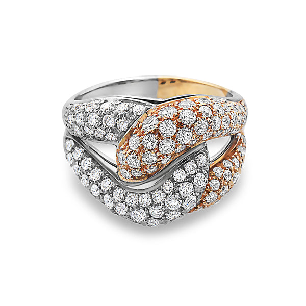 MADE IN ITALY NODO SINGLE LINK HALF YELLOW HALF WHITE PAVE DIAMONDS RING