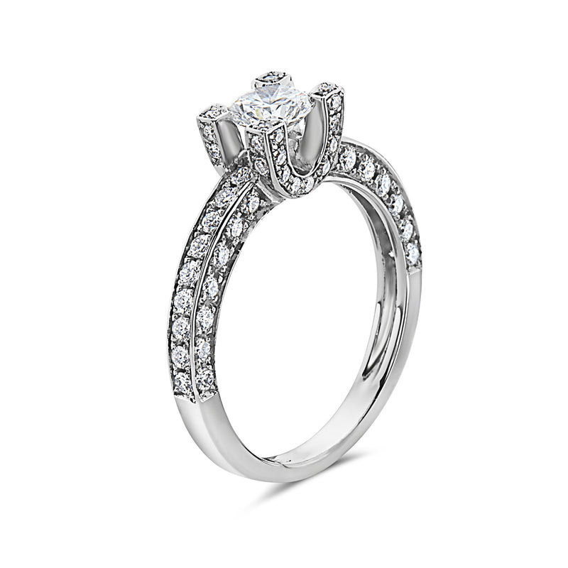 MADE IN ITALY PAVE DIAMONDS ENGAGEMENT SOLITAIRE RING, WOMEN RING, SEVEN50 WOMAN, SEVEN50 GROUP USA - SEVEN-50.COM